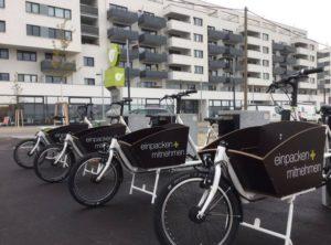 Vier eCargobikes in vollautomatisiertem Sharing-Angebot in Wien Aspern.