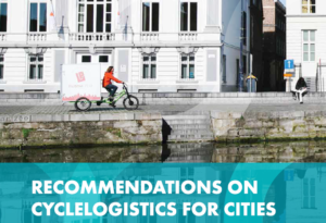"Ausschnitt Titelseite des ECF-Berichts ""Recommendations on Cyclelogistics for Cities"""