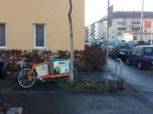 LastenVelo05 an seinem Standort in der Komturstraße