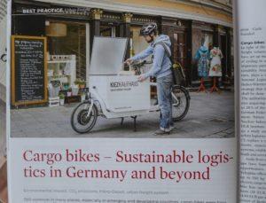 """Cargobike-Beitrag in englischer Sonderausgabe der """"Internationales Verkehrswesen"""", Mai 2016"""