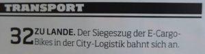 Aus dem Inhaltsverzeichnis des LT-manager 03/2016: Siegszug der E-Cargo-Bikes