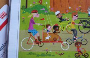 Cargobike in Wimmelbild des DB-Kundenmagazin mobil, Ausgabe Mai 2016