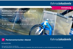 Einladung parlamentarischer Abend Fahrradakademie