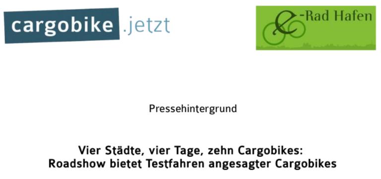 Cargobike Roadshow 2016 - Pressehintergrund